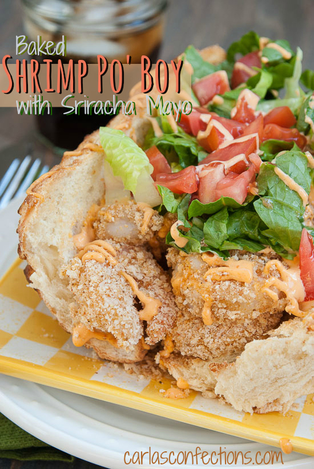 Baked Shrimp Po' Boy with Sriracha Mayo