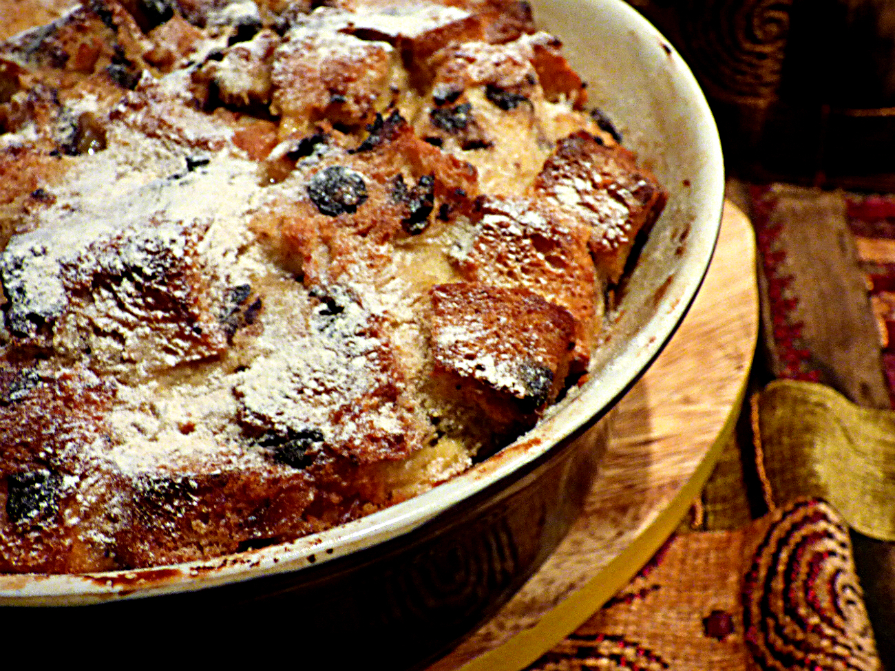 Chocolate chip bread and butter pudding