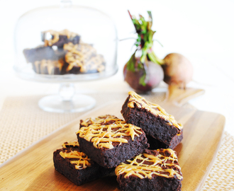 Salted Caramel Brownies recipe developed for Food Thoughts Cocoa and Sainsbury's online.