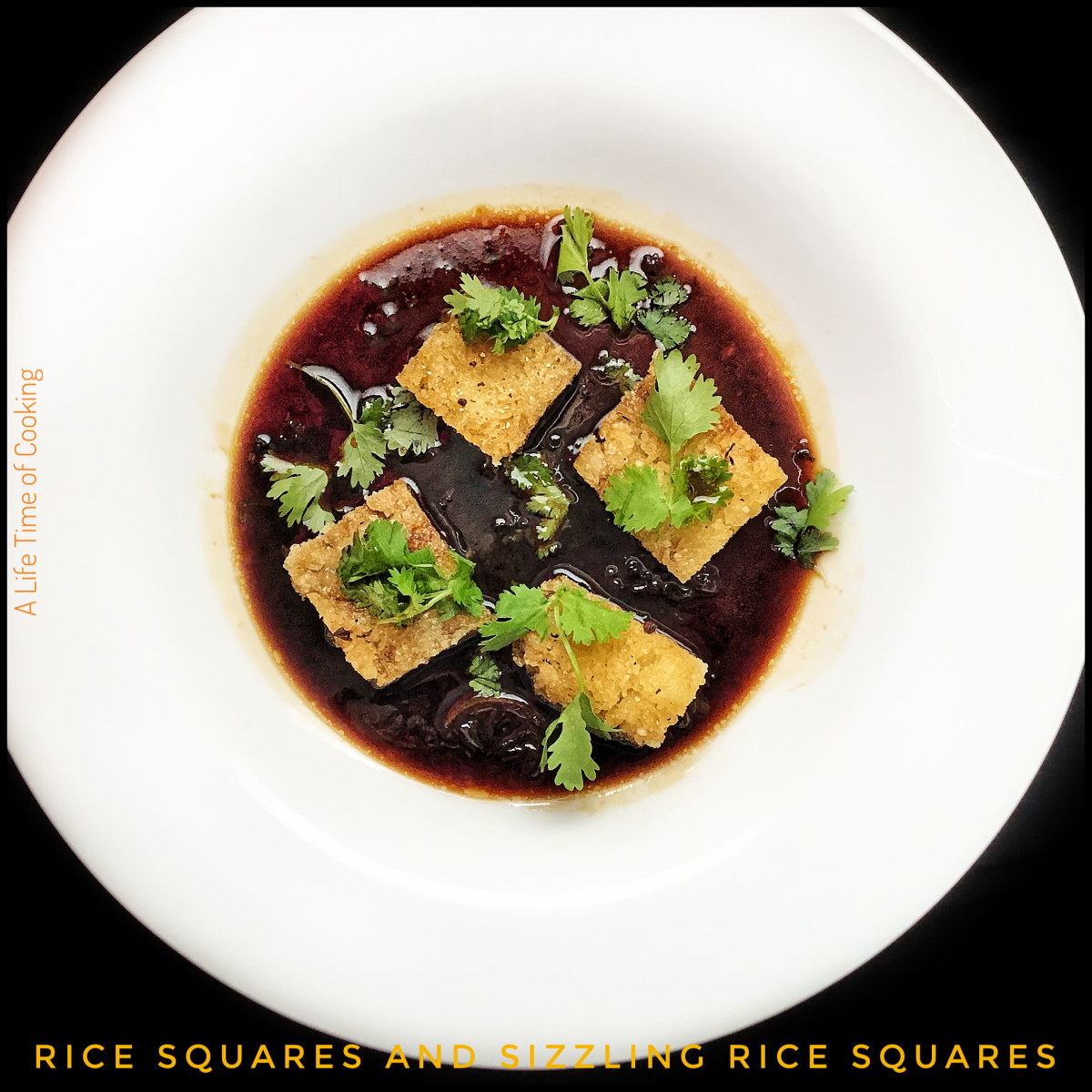 Quick Rice Squares and Sizzling Rice Squares in Dipping Sauce