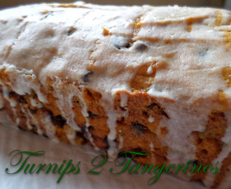 Pumpkin Chocolate Chip Bread with Eggnog Glaze