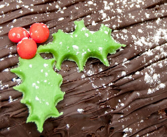 Chocolate & Orange Yule Log with Fondant Holly