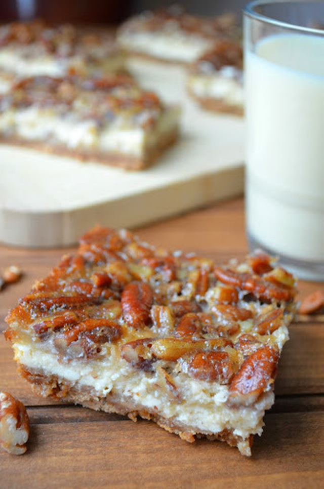 Eggnog Cheesecake Bars with a Pecan Pie Topping (Plus a Zulka Cane Sugar Giveaway!)