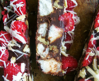 Dark Chocolate Raspberry Walnut Cake Bars