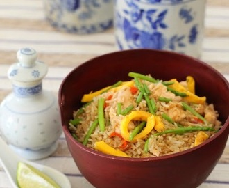 Asparagus Salmon Fried Rice #BloggerCLUE