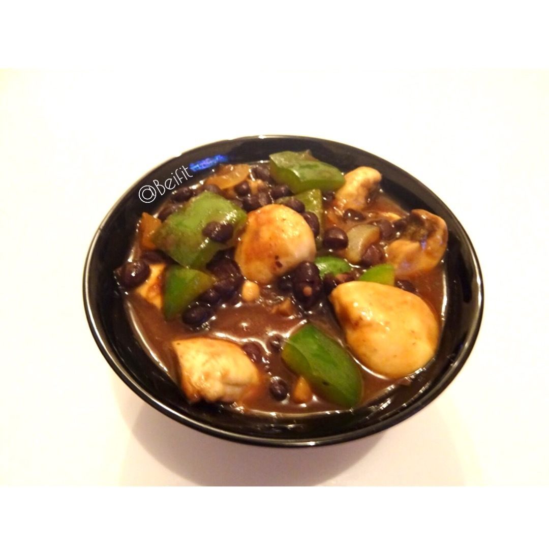 Homemade Black Bean Sauce with Mushrooms & Green Peppers