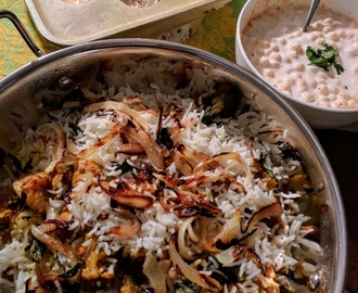 Minty Mushroom and Soya Nuggets Biryani