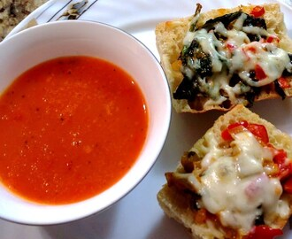 Spinach Garlic Bruschetta with Red Bell Pepper Sauce