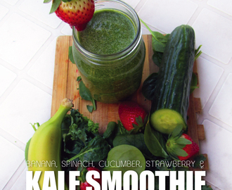 Coconut Milk, Strawberry, Banana, Cucumber, Spinach and Kale Smoothie