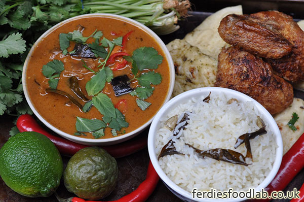 Recipe: Crispy Chicken & Red Vegetable Curry w/ Cardamom Rice