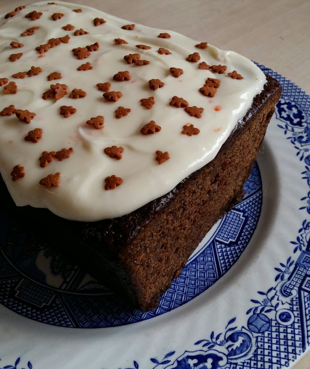 Gingerbread loaf with orange cream cheese icing/lemon icing