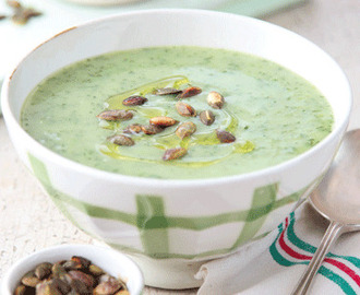 Watercress Soup with Potato, Onion & Toasted Pumpkin Seeds