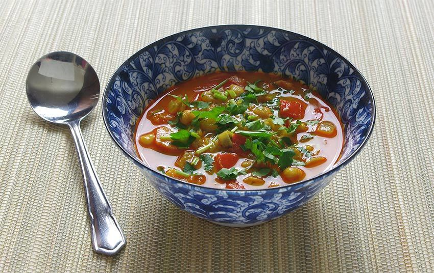Moroccan vegetable & chickpea soup recipe