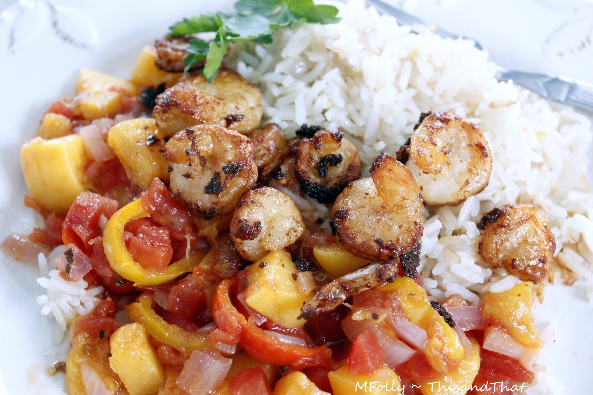 Coconut Rice and Shrimp with Peach Salsa