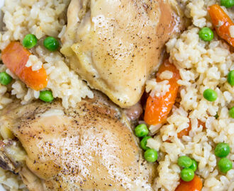 Baked Chicken Brown Rice Vegetable Casserole - Dinner, then Dessert
