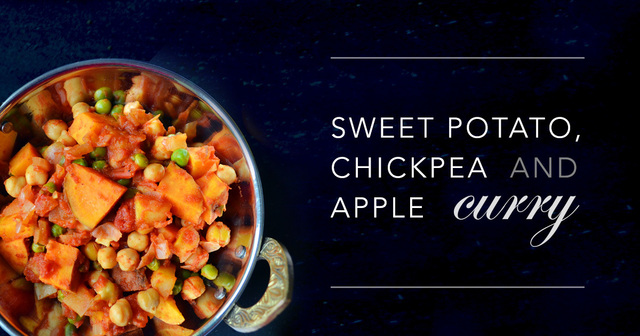 Meatless Monday: Sweet Potato, Chickpea & Apple Curry  (Low fat, Vegan)