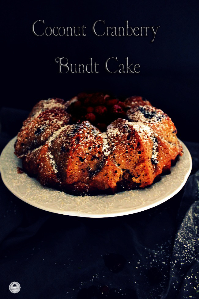 Cranberry, Orange and Coconut Bundt Cake #Bundtbakers