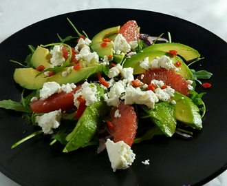 Grapefruit Avocado and Feta Salad