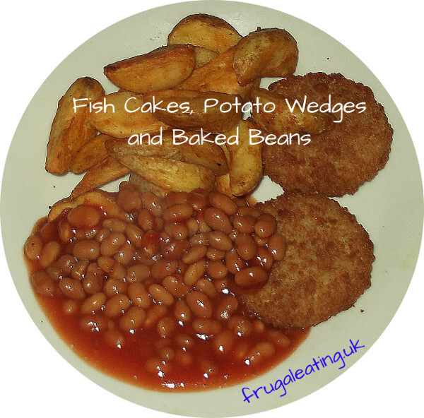 Fish Cakes, Potato Wedges and Baked Beans