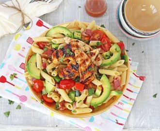 Bacon & Avocado Pasta Salad with Honey Mustard Chicken