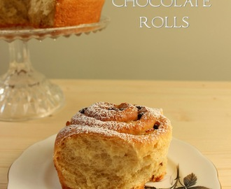 Spiced pear and chocolate rolls