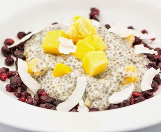 Coconut Mango Chia Pudding spiced with Cardamom