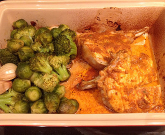 Roasted brussel sprouts/broccoli with pork chops