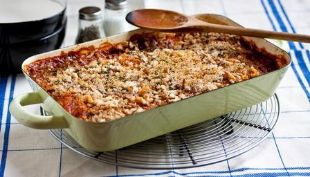 Sausage & Butterbean Casserole With Herby Crumb Topping