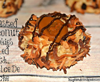 TOASTED COCONUT THUMBPRINTS FILLED WITH DULCE DE LECHE AND A CHOCOLATE DRIZZLE