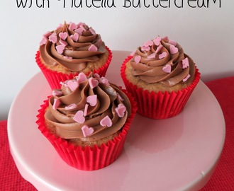 Strawberry Cupcakes with Nutella Buttercream