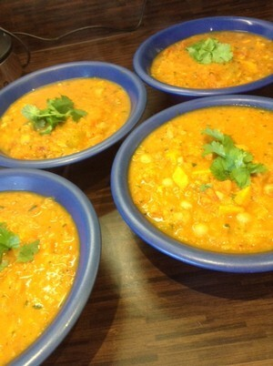 Choice, carrot, coriander and chorizo chowder