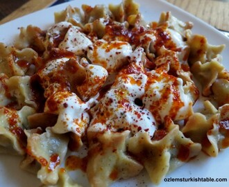 Manti, the tiny treasures;Turkish dumplings stuffed with ground meat, in garlic yoghurt and spices