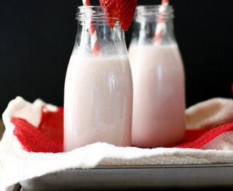 Vegan Homemade Strawberry Milk with Natural Sweeteners
