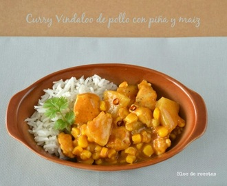Curry Vindaloo de pollo con piña y maiz