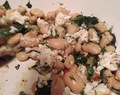 Butterbeans with feta, spinach and sumac