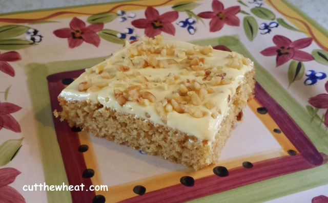 Tasty Banana Cake with Banana Cream Icing and Walnuts: Low Carb, Sugar Free, Gluten Free