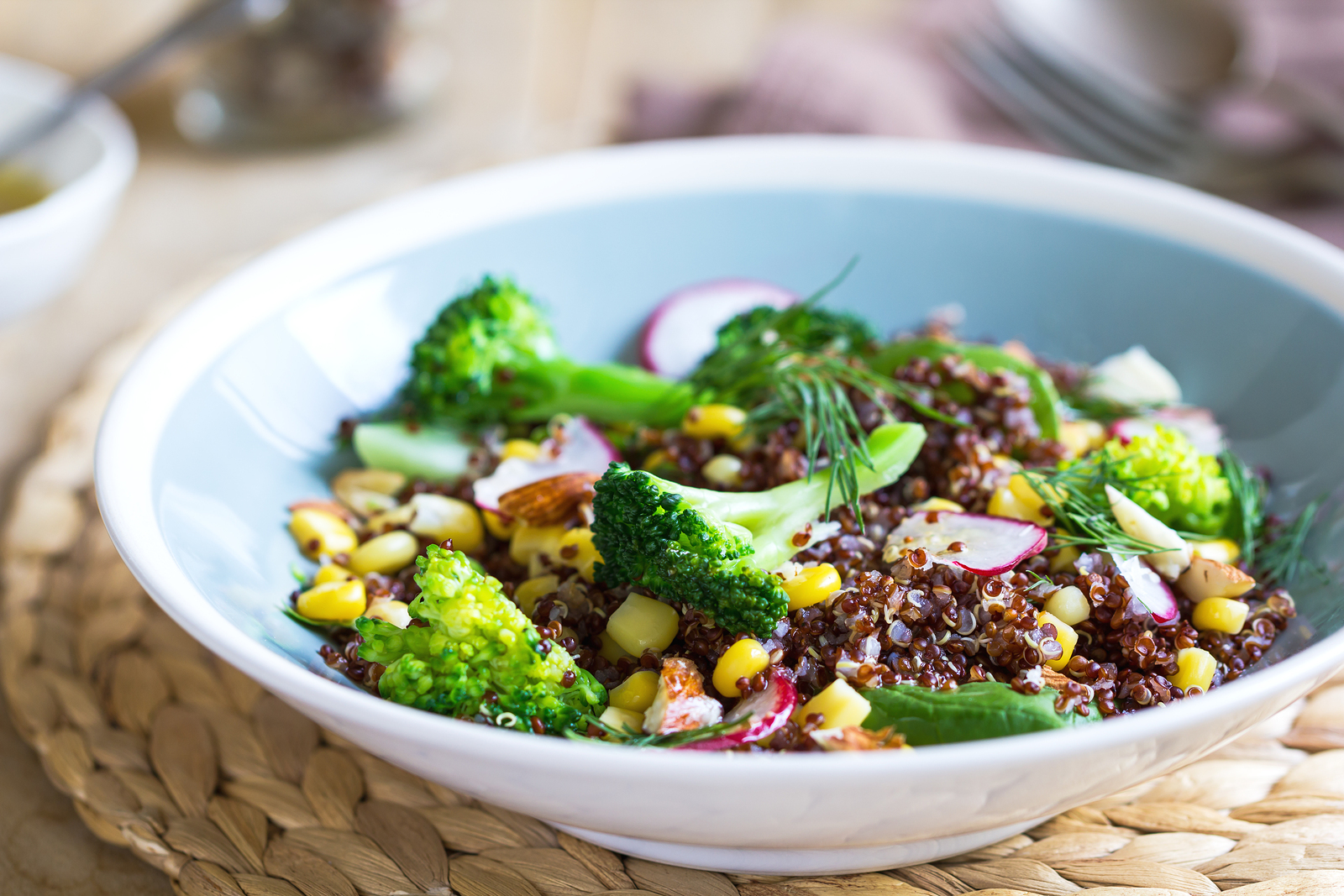 Red Quinoa, Broccoli and Corn Salad
