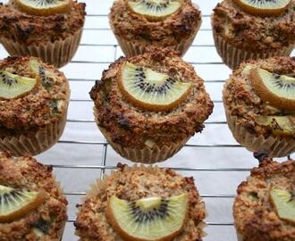 Kiwi fruit muffin recipe with dark chocolate and orange zest (gluten free)