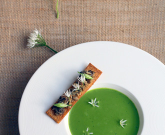 Wild Garlic Soup, Smoked Mussel Toast, Pickled Buds