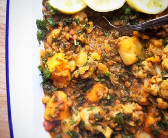 potato & lentil curry with lemon & fresh mint
