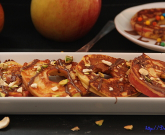 Apple ring pancakes drizzled with chocolate: Guest Post for Vidya