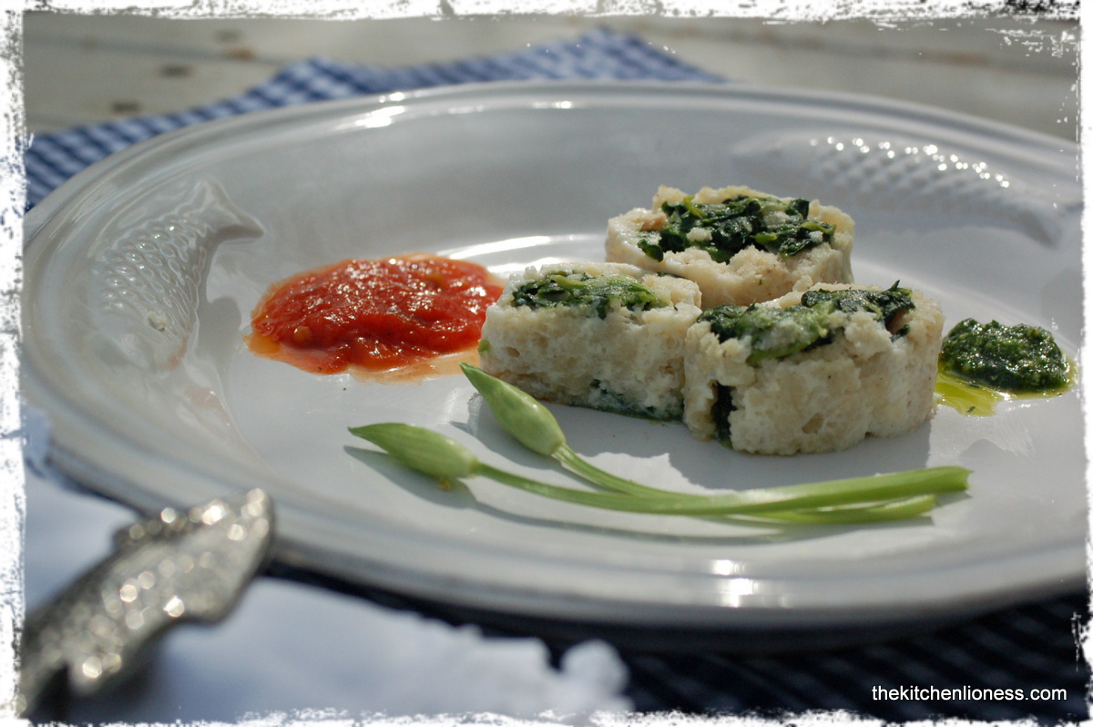 FFwD: Cod and Spinach Roulade with wild garlic pesto and tomato sauce