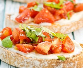 Avocado, Tomato, Olive and Basil Bruschetta Recipe