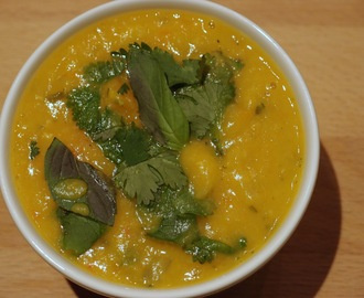 Harlequin squash, lentil and carrot soup with Thai flavours