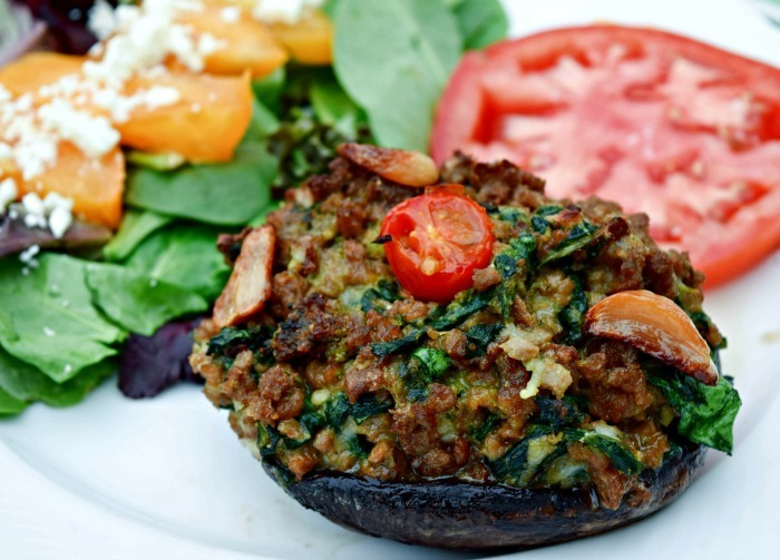Pesto, Spinach & Roast Garlic Stuffed Mushrooms – Vegan #MeetChef