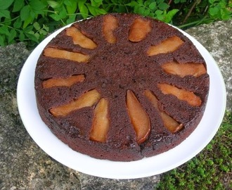 Chocolate Pear Cardamom Upside-Down Cake