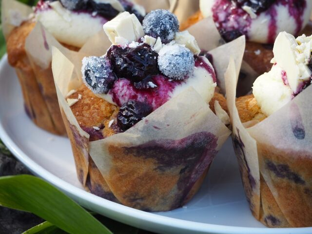 Blueberry Muffins with White Chocolate Ganache