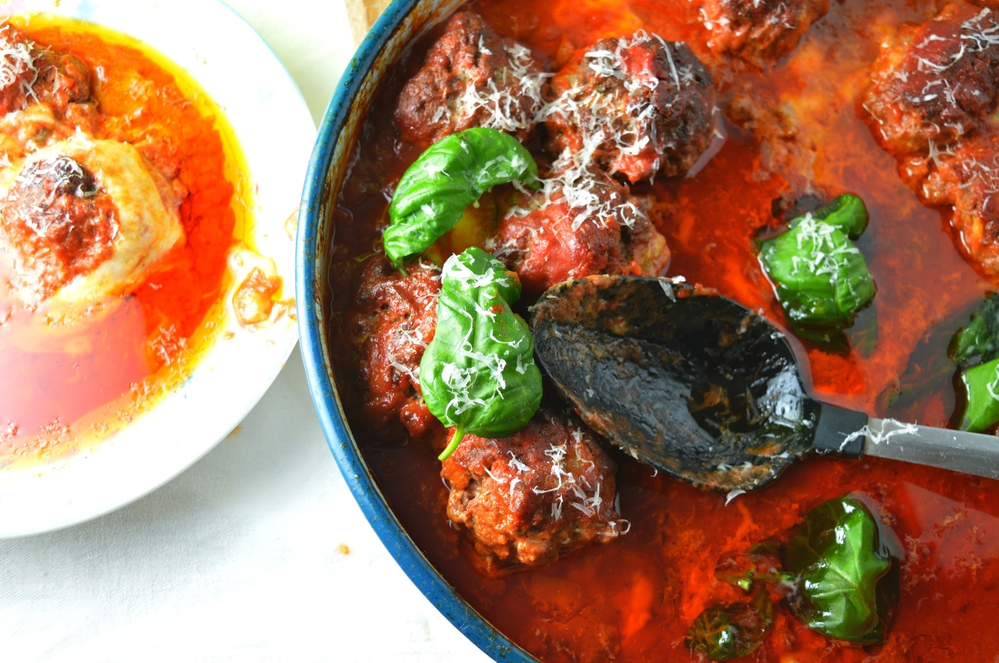Mozzarella & Parmesan Cheese Meatballs in Sweet Tomato Sauce
