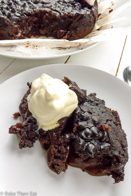 Slow Cooker Vegan Hot Fudge Sauce Chocolate Cake