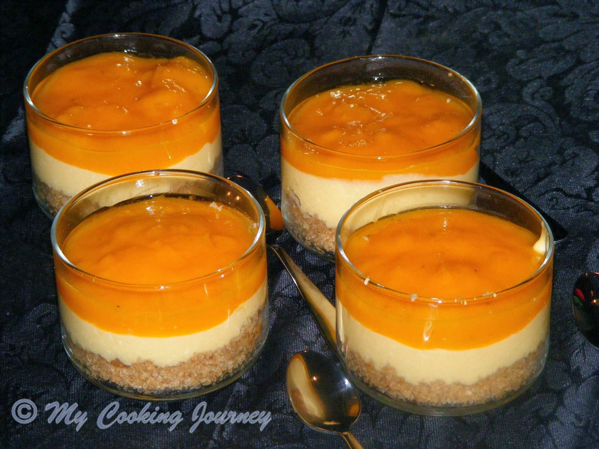 Eggless No Bake Mango Cheesecake using Agar-Agar - A Vegetarian Recipe with no Gelatin